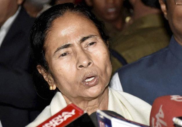 Mamata Banerjee talks to media at the Patna airport on