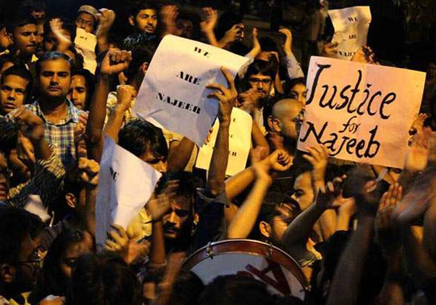 File pic - JNU students protest against police inaction