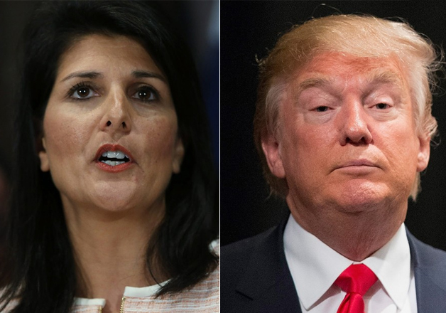File pic of Nikki Haley and Donald Trump