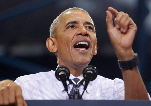 US President Barack Obama addresses a rally in US