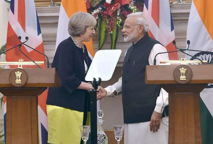 PM Modi and his British counterpart Theresa May