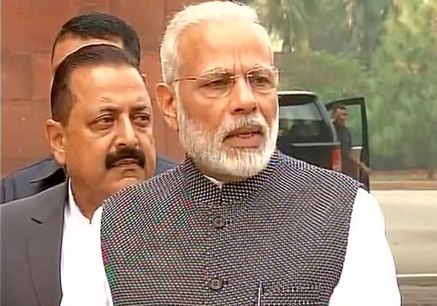 PM Modi speaks to reporters outside Parliament