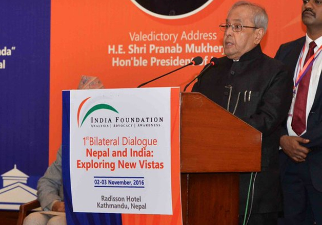 President Mukherjee addressing 'Nepal and India: Exploring