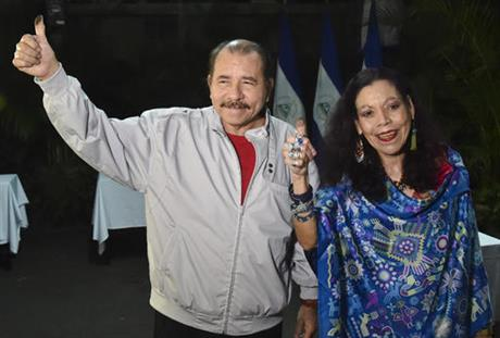 Nicaragua president Daniel Ortega with his wife