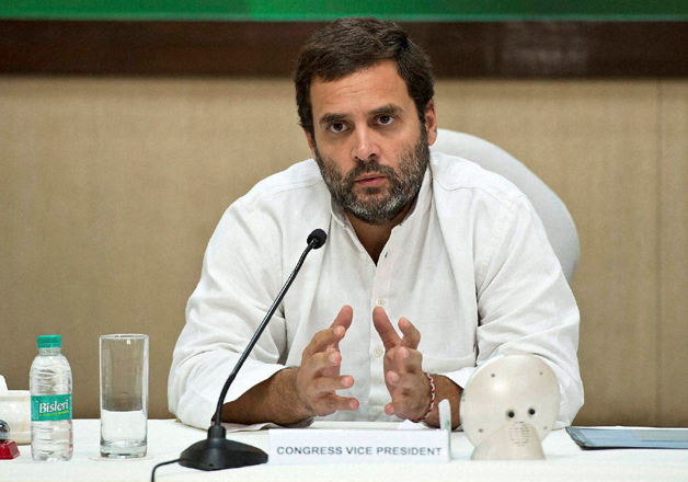 Congress vice-president Rahul Gandhi speaks to media in New