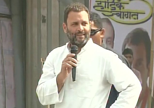 Congress vice president Rahul Gandhi addressing party