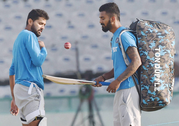 Murli Vijay and KL Rahul during a practice session in Mohali