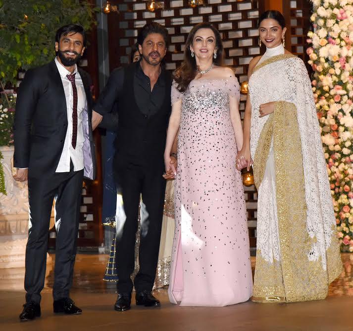 India Tv - Ranveer and Deepika with Nita Ambani and SRK