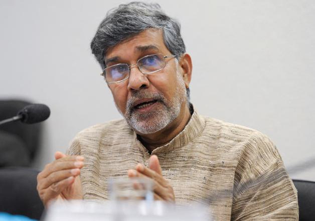 File pic - Nobel laureate Kailash Satyarthi speaks to media