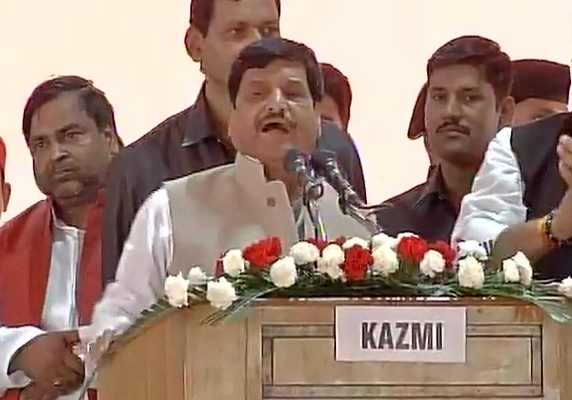 Shivpal Singh Yadav addressing SP's silver jubilee event in