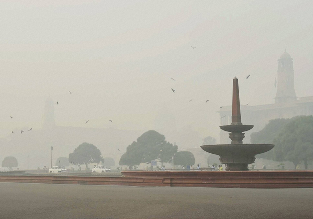 File pic - A view of Raisina Hill covered in smog in New