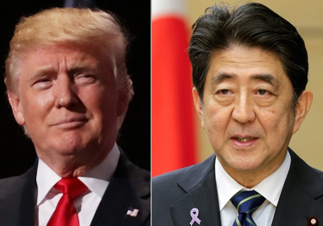 File pic of Donald Trump and Shinzo Abe