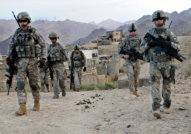 File pic - US soldiers on foot patrolling in Afghanistan.