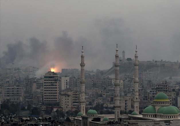 A ball of fire rises following an air strike hits