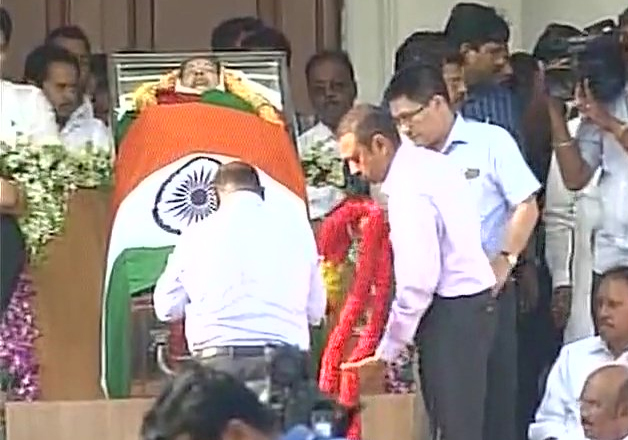 Tributes being paid to Jayalalithaa at Rajaji Hall in