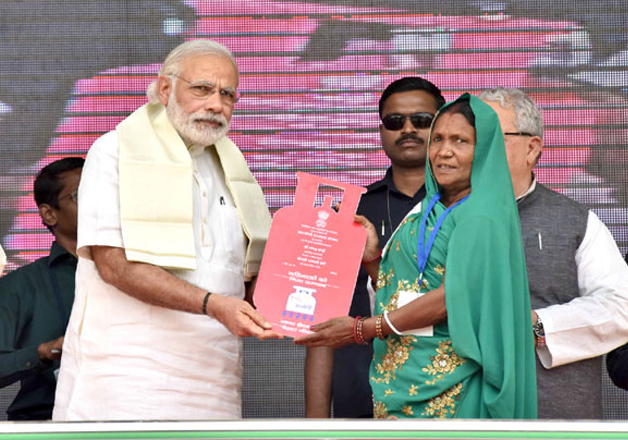 File pic - PM Modi distributes LPG connections under PMUY