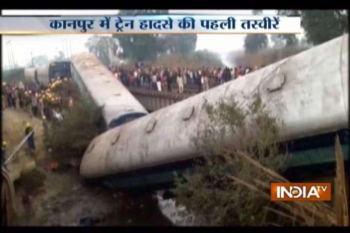 Train derails near Kanpur