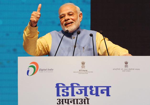 PM Narendra Modi addressing the gathering at the Digi-Dhan