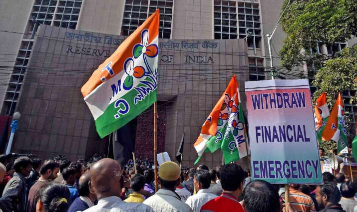 India Tv - TMC activists protesting against demonetisation in front of RBI