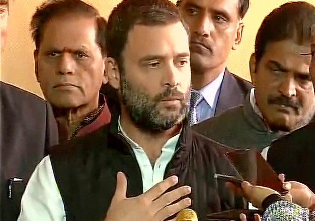 Congress vice-president Rahul Gandhi speaks outside
