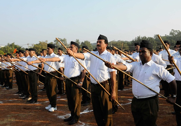 File pic - RSS members taking part in a foot march in Bhopal