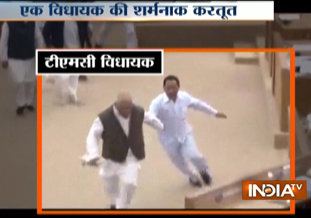 Watch: TMC MLA hits new low, runs away with Speaker's