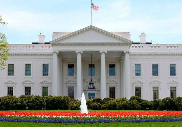 An outside view of White House