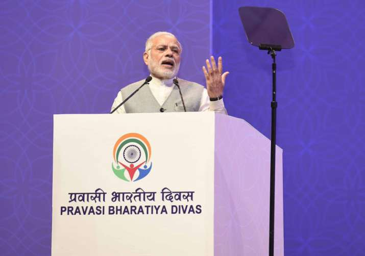 PM Modi speaking at the Pravasi Bharatiya Divas