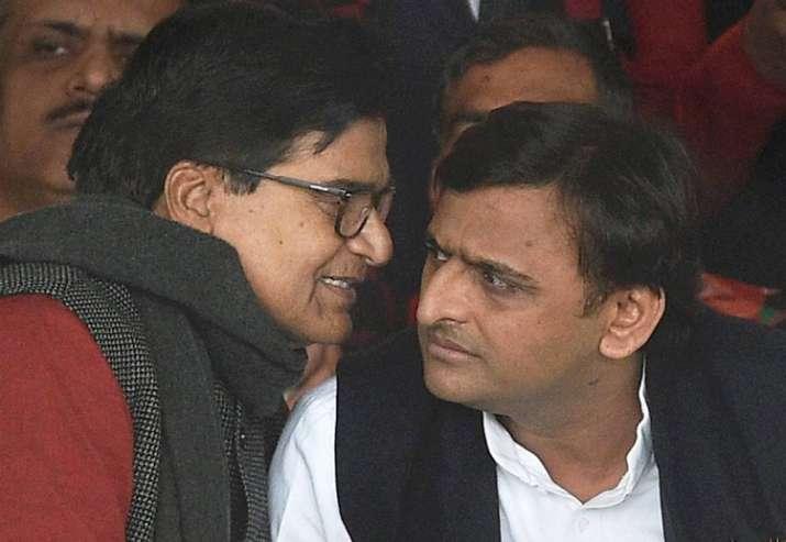 Ram Gopal and Akhilesh Yadav at national convention on Jan 1
