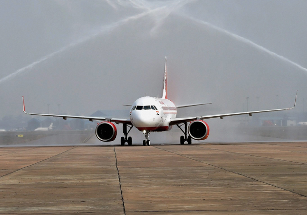 First Airbus 320 neo plane receiving a water cannon salute