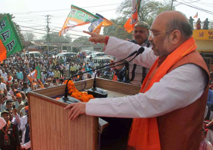 BJP President Amit Shah addressing during an election