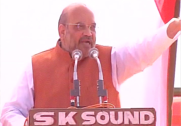 Amit Shah speaks at an election rally in UP