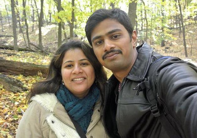 File pic - Srinivas Kuchibhotla with his wife