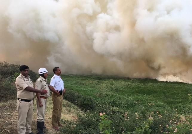 Bellandur Lake in Bangalore catches fire