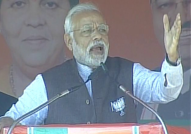 PM Narendra Modi addressing an election rally in Gonda