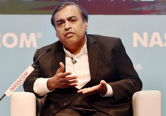 Mukesh Ambani addresses during the NASSCOM India leadership