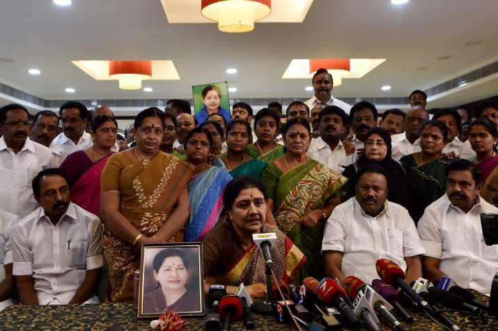 VK Sasikala today addressed party workers outside Poes