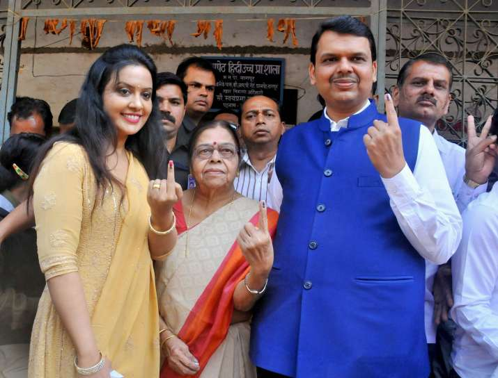 India Tv - Devendra Fadnavis after casting vote during Municipal election in Nagpur