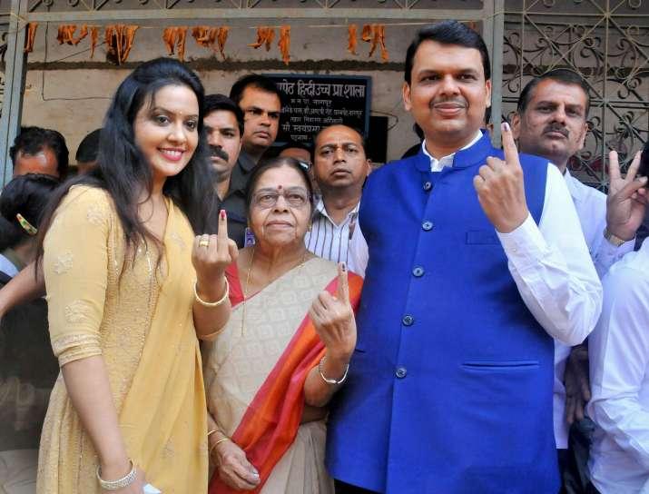 Devendra Fadnavis after casting vote during Municipal