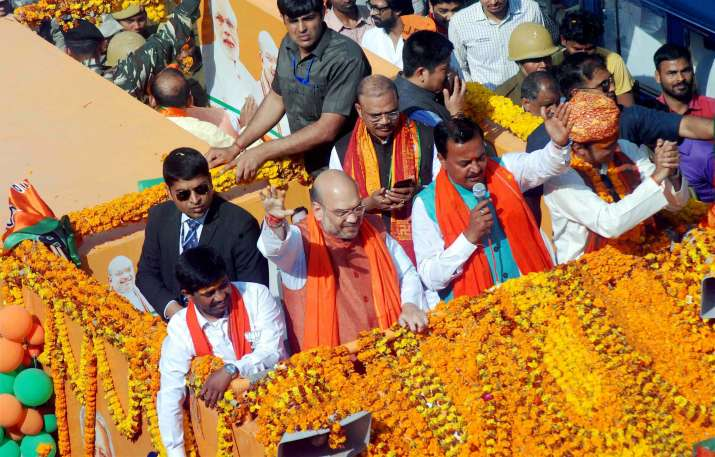 Amit Shah held road show on the last day of campaigning in