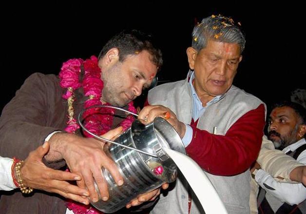 Rahul Gandhi and Harish Rawat in Haridwar