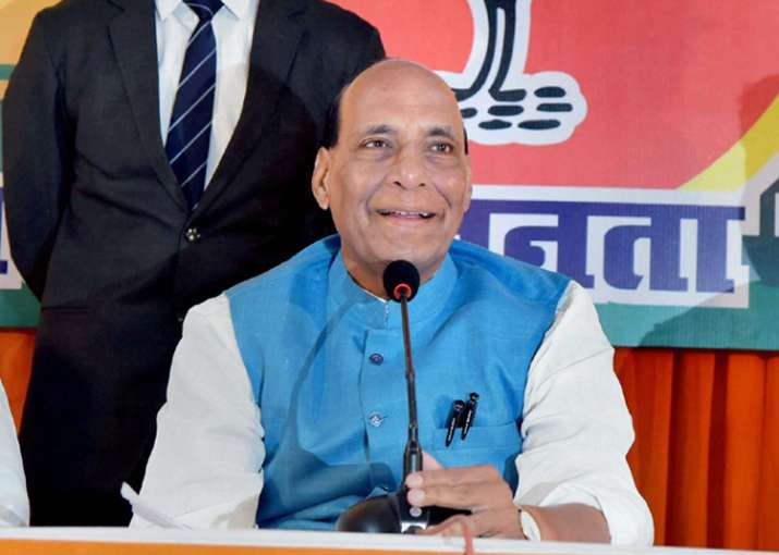 Home Minister Rajnath Singh addresses a press conference in