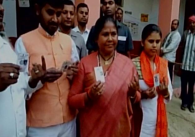 India Tv - Sadhvi Niranjan Jyoti after casting her vote in Hamirpur