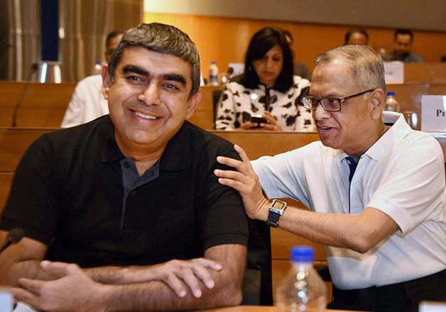 File pic - Vishal Sikka and Narayan Murthy