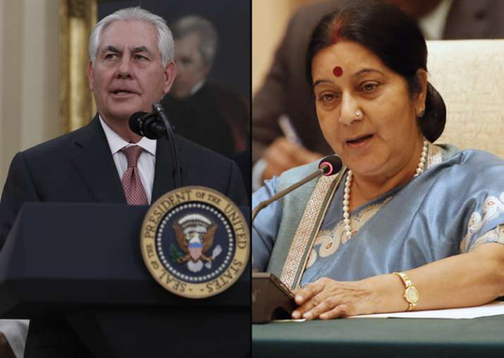 Sushma Swaraj and Rex Tillerson today held their first