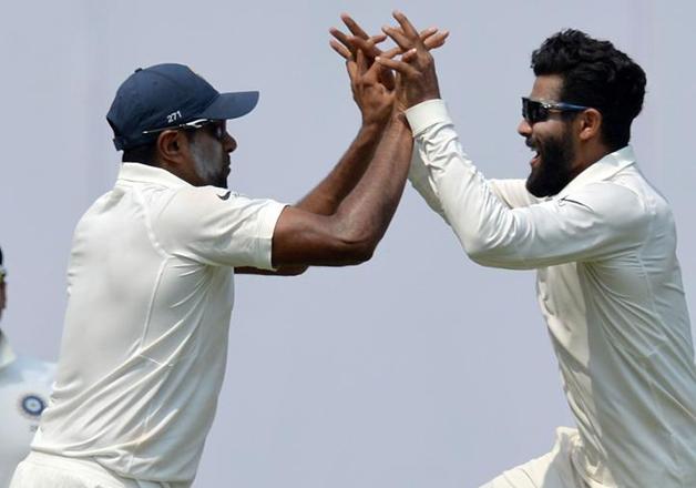 Ashwin and Jadeja celebrate during 2nd Test against
