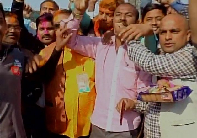 BJP credits PM Modi for party win, workers erupt in joy