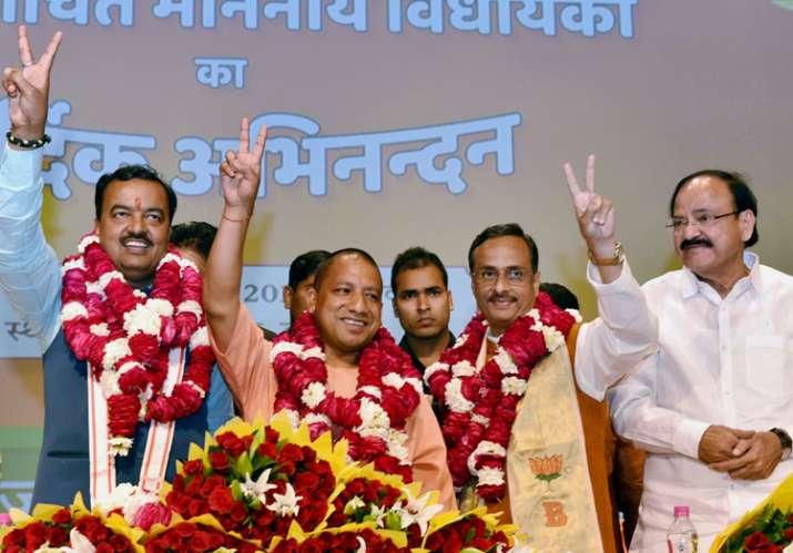 BJP MLAs' elected Yogi Adityanath as UP CM in a meeting on