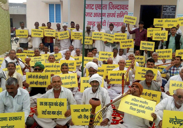 Jat community members during their agitation for