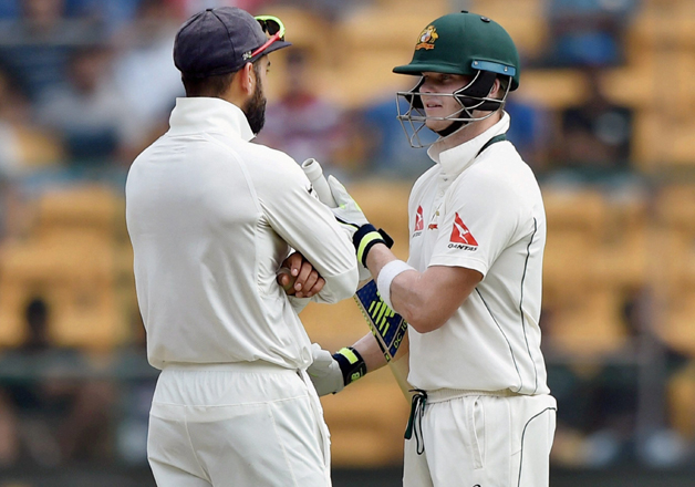 Virat Kohli with Steven Smith during the second Test match